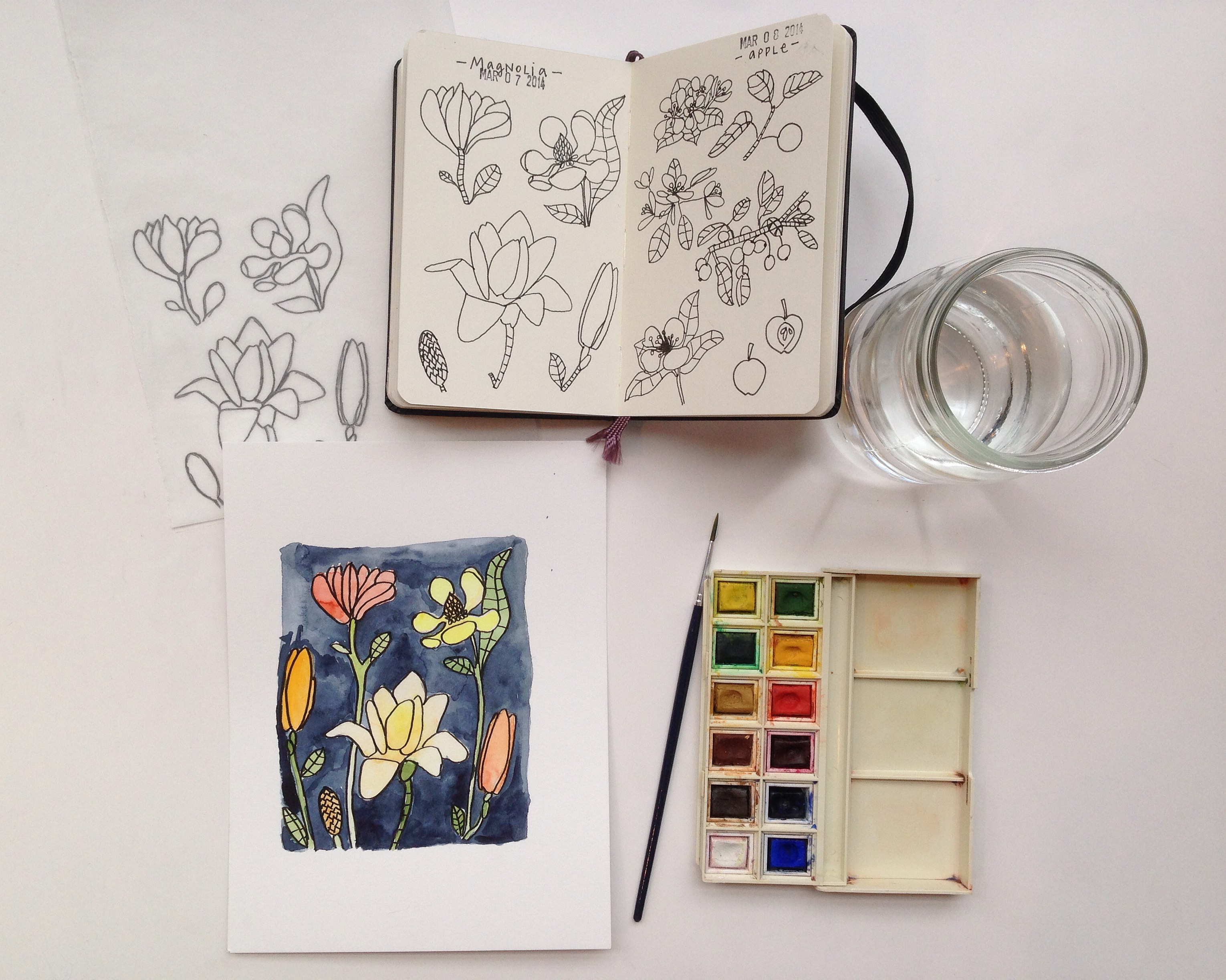 watercolor magnolias | year of creative habits
